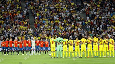 Players of Spain (L) and Romania (R) observe a minute of silence for Xana Martinez Cullell, the late daughter of former Spain coach Luis Enrique, before the UEFA EURO 2020 group F qualifying soccer match between Romania and Spain at National Arena stadium in Bucharest, Romania, 05 September 2019.