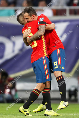 Spain's Paco Alcacer (R) celebrates with his teammate Jordi Alba (L) after scoring the 2-0 lead during the UEFA EURO 2020 group F qualifying soccer match between Romania and Spain at National Arena stadium in Bucharest, Romania, 05 September 2019.