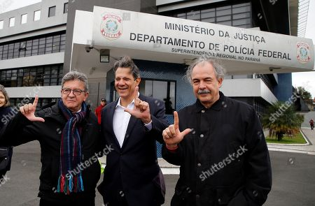 The leader and founder of the left-wing movement La France Insoumise Jean-Luc Melenchon (L) arrives to visit former Brazilian president Luis Inacio Lula da Silva, next to Sao Paulo Former Mayor Fernando Haddad (C) and former Senator Aloizio Mercadante (R), at the Federal Police Superintendence, where Lula has been imprisoned since April 2018, in the Santa Candida neighborhood, in Curitiba, Brazil, 05 September 2019.