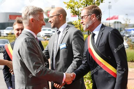 Stock Picture of King Philippe visits the Province of Heynowes. They go first to Bienne-Lez-Happart (Lobbes) to visit the Centre Arthur Regniers, a medical-educational institute for people with cerebral palsy and motor impairment. A brief visit is also planned at the Collégiale Saint-Ursmer of Lobbes, which celebrates its millennium. The Sovereigns then go to Charleroi to visit the new MaSTheCcell production facilities in the Biopark. They attend a presentation of the CATCH Plan (CATalyst 4 CHarleroi) which is followed by a meeting with young CEO's of the Biopark companies. The tour ends at Quia 10 in downtown Charleroi, a vibrant and interactive animated image center that offers a cultural and educational approach to film and gaming.
