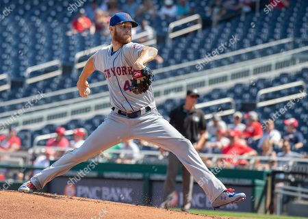 New York Mets starting pitcher Zack Wheeler (45) works in the first inning against the Washington Nationals at Nationals Park in Washington, D.C..