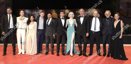 (2L-R) Max Hurwitz, Claudia Pineda, Dane DeHaan, Harold Torres, Giuseppe De Domenico, Andrea Riseborough, Stefano Sollima, Roberto Saviano, Adriano Chiaramida and Gina Gardini arrive with all cast for the premiere of 'ZeroZeroZero' during the 76th annual Venice International Film Festival, in Venice, Italy, 05 September 2019. The series is presented out of competition at the festival running from 28 August to 07 September.