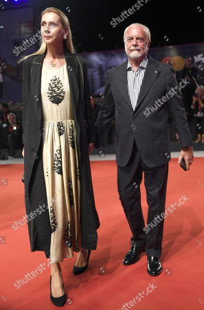 Aurelio De Laurentiis (R) with his wife Jacqueline Baudit (L) arrive for the premiere of 'ZeroZeroZero' during the 76th annual Venice International Film Festival, in Venice, Italy, 05 September 2019. The series is presented out of competition at the festival running from 28 August to 07 September.
