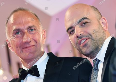 Stefano Sollima (L) and Italian author and screenwriter Roberto Saviano arrive for the premiere of 'ZeroZeroZero' during the 76th annual Venice International Film Festival, in Venice, Italy, 05 September 2019. The series is presented out of competition at the festival running from 28 August to 07 September.