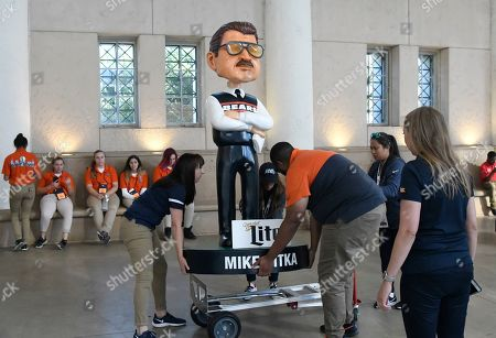 Stock Image of A large bobblehead of Mike Ditka is seen at Soldier Field before an NFL football game between the Green Bay Packers and the Chicago Bears, in Chicago