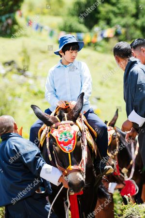 This Aug. 18, 2019, photo provided by the Imperial Household Agency of Japan, shows Japan's Prince Hisahito, the son of Crown Prince Akishino and Crown Princess Kiko, in Punakha, Bhutan. Prince Hisahito turned 13 years old on