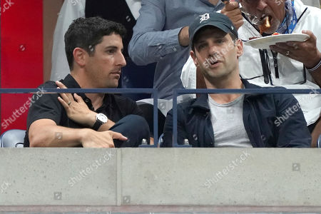 Jason Biggs, Justin Bartha. Jason Biggs, left, and Justin Bartha attend the semifinals of the U.S. Open tennis championships, in New York