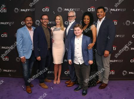 "Rizwan Manji, Will Greenberg, Anna Camp, Bradley Whitford, Spencer Allport, Tymberlee Hill, Geno Segers. Cast members Rizwan Manji, Will Greenberg, Anna Camp, Bradley Whitford, Spencer Allport, Tymberlee Hill and Geno Segers, from left, attend the NBC Presentation of ""Perfect Harmony"" at the 2019 PaleyFest Fall TV Previews at The Paley Center for Media, in Beverly Hills, Calif"