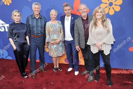 "Maureen McCormick, Barry Williams, Eve Plumb, Christopher Knight, Mike Lookinland, Susan Olsen. From left to right, Maureen McCormick, Barry Williams, Eve Plumb, Christopher Knight, Mike Lookinland and Susan Olsen attend the LA premiere of ""A Very Brady Renovation"" at the The Garland Hotel, in Los Angeles"