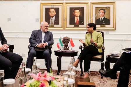 Iran's Foreign Minister Mohammad Javad Zarif (L) listens to his Indonesian counterpart Retno Marsudi (R) shortly after their meeting in Jakarta, Indonesia, 06 September 2019. Zarif is on a visit to Indonesia to strengthen the bilateral relationship between the two countries.