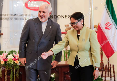 Iran's Foreign Minister Mohammad Javad Zarif (L) is greeted by his Indonesian counterpart Retno Marsudi (R) during their meeting in Jakarta, Indonesia, 06 September 2019. Zarif is on a visit to Indonesia to strengthen the bilateral relationship between the two countries.