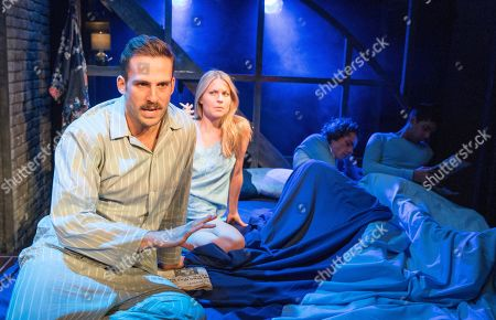 Stock Image of Dino Fetscher as Ed, Daisy Boulton as Laurel, Matthew Needham as Arnold, Rish Shah as Alan