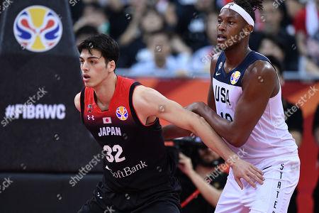 (L-R) Avi Koki Schafer (JPN), Myles Turner (USA) - Group E match between United States 98-45 Japan at Shanghai Oriental Sports Center