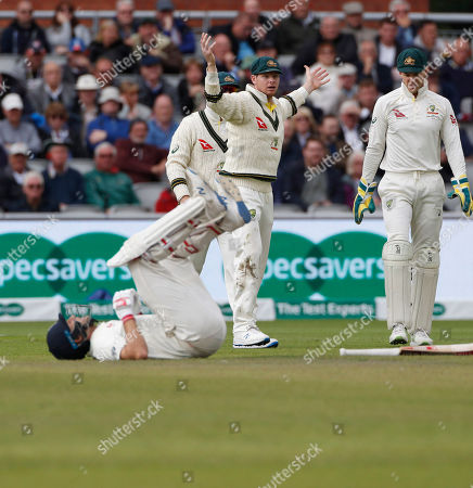 Australia's Steve Smith reacts as Australia asks for an unsuccessful lbw review for England's captain Joe Root, on ground, during day three of the fourth Ashes Test cricket match between England and Australia at Old Trafford in Manchester, England