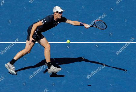 Stock Picture of Jamie Murray of Great Britain in action in the Mixed Doubles Final