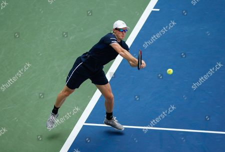 Stock Image of Jamie Murray of Great Britain in action in the Mixed Doubles Final