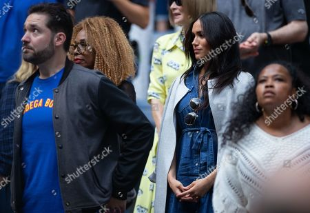 Meghan Duchess of Sussex, stands alongside Oracene Price and Alexis Ohanian as they watch Serena Williams play in the Women's Final in the Arthur Ashe Stadium