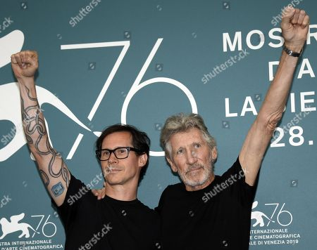 Roger Waters (R) and US filmmaker Sean Evans pose at a photocall for 'Roger Waters Us+Them' during the 76th annual Venice International Film Festival, in Venice, Italy, 06 September 2019. The movie is presented out of competition at the festival running from 28 August to 07 September.