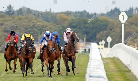 Stock Image of BLESS HIM (2nd left, Jamie Spencer) beats LORD NORTH (2nd right) as CHIEFOFCHIEFS (James Doyle) takes evasive action in The Lexicon Bracknell Handicap Ascot
