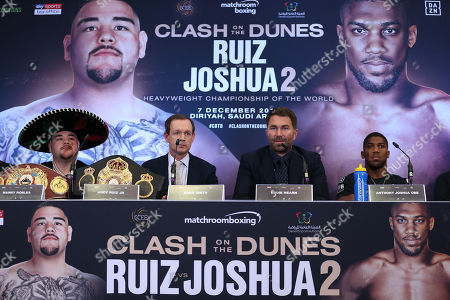 Andy Ruiz Jr vs  Anthony Joshua during the press conference with Eddie Hearn