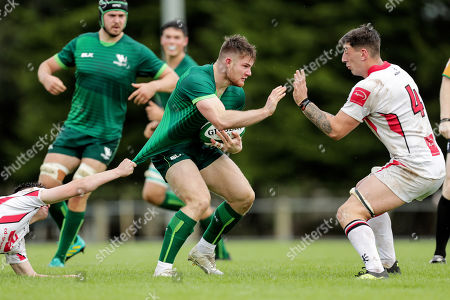 Ulster vs Connacht Eagles. Connacht Eagles' Peter Sullivan with Bruce Houston and Matthew Dalton of Ulster