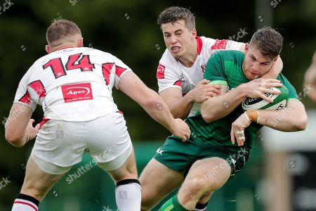 Ulster vs Connacht Eagles. Connacht Eagles' Peter Sullivan is tackled by Ben Power of Ulster