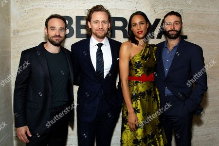 Stock Image of Charlie Cox with Tom Hiddleston, Zawe Ashton and Eddie Arnold