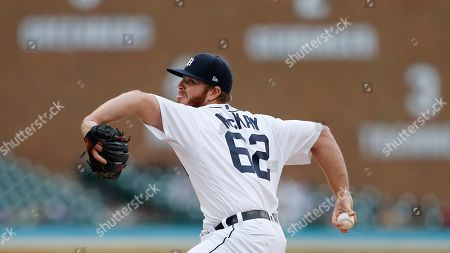Detroit Tigers relief pitcher David McKay throws during the ninth inning of a baseball game, in Detroit