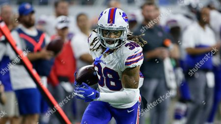 Stock Picture of Buffalo Bills cornerback Ryan Lewis (38) carries the ball against the Detroit Lions during the second half of an NFL preseason football game in Detroit
