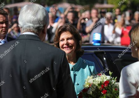 Hessian Prime Minister Volker Bouffier (L) welcomes Queen Silvia of Sweden (C) as she arrives in Wiesbaden, Germany, 06 September 2019. During their meeting they discussed the work of the 'World Childhood Foundation' which was founded in 1999 by Queen Silvia. Earlier in the day, Queen Silvia received the 'Karl Kuebel Prize' for her commitment to children. Karl Kuebel (1909-2006) was a German entrepreneur who founded the 'Karl Kuebel Foundation for Children and Families' in 1972.