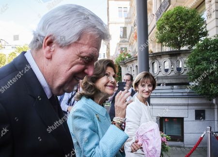 Hessian Prime Minister Volker Bouffier (L) and his wife Ursula Bouffier (R) welcome Queen Silvia of Sweden (C) as she arrives in Wiesbaden, Germany, 06 September 2019. During their meeting they discussed the work of the 'World Childhood Foundation' which was founded in 1999 by Queen Silvia. Earlier in the day, Queen Silvia received the 'Karl Kuebel Prize' for her commitment to children. Karl Kuebel (1909-2006) was a German entrepreneur who founded the 'Karl Kuebel Foundation for Children and Families' in 1972.
