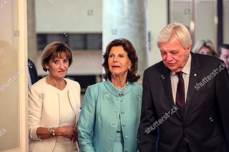 Hessian Prime Minister Volker Bouffier (R) and his wife Ursula Bouffier (L) welcome Queen Silvia of Sweden (C) in Wiesbaden, Germany, 06 September 2019. During their meeting they discussed the work of the 'World Childhood Foundation' which was founded in 1999 by Queen Silvia. Earlier in the day, Queen Silvia received the 'Karl Kuebel Prize' for her commitment to children. Karl Kuebel (1909-2006) was a German entrepreneur who founded the 'Karl Kuebel Foundation for Children and Families' in 1972.