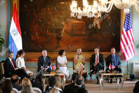 Ivanka Trump, Mario Abdo Benitez, Silvana Lopewz Moreira. Ivanka Trump, President Donald Trump's daughter and White House adviser, center, speaks flanked by Paraguay's President Mario Abdo Benitez, from left, first lady Silvana Lopez Moreira, John Sullivan, Deputy Secretary of State, Denisse Genit, an entrepreneur, David Bohinian of OPIC and Mark Green USAID, at Presidential Palace in Asuncion, Paraguay, . Ivanka Trump is on her third stop of a South American trip to promote women's empowerment
