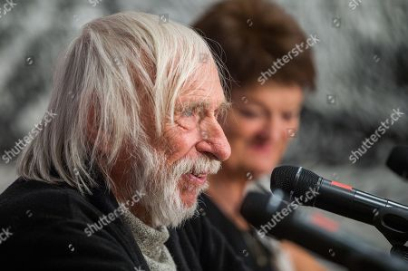 Pierre Richard speaks to the media during his press conference in Kempinski Hotel Corvinus in Budapest, Hungary, 06 September 2019. The 85-year-old Pierre Richard arrived in Budapest as the honour guest of the 3rd Budapest Classic Film Marathon, which runs beetween 4-11 September 2019.