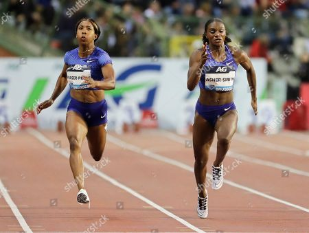 Dina Asher-Smith (R) of Britain is on her way to win the women's 100m race at the Memorial Van Damme IAAF Diamond League international athletics meeting in Brussels, Belgium, 06 September 2019. Asher-Smith won ahead of second placed Shelly-Ann Fraser-Pryce (L) of Jamaica.