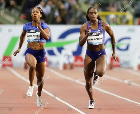 Stock Photo of Dina Asher-Smith (R) of Britain is on her way to win the women's 100m race at the Memorial Van Damme IAAF Diamond League international athletics meeting in Brussels, Belgium, 06 September 2019. Asher-Smith won ahead of second placed Shelly-Ann Fraser-Pryce (L) of Jamaica.