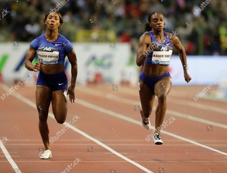 Stock Image of Dina Asher-Smith (R) of Britain is on her way to win the women's 100m race at the Memorial Van Damme IAAF Diamond League international athletics meeting in Brussels, Belgium, 06 September 2019. Asher-Smith won ahead of second placed Shelly-Ann Fraser-Pryce (L) of Jamaica.