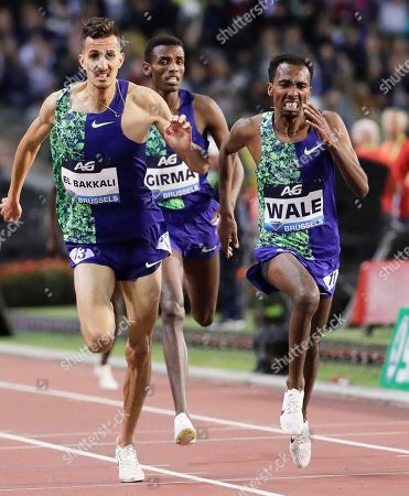 Ethiopia's Getnet Wale (R) is on his way to win the men's 3,000m Steeplechase race at the Memorial Van Damme IAAF Diamond League international athletics meeting in Brussels, Belgium, 06 September 2019. Wale won ahead of second placed Soufiane El Bakkali (L) of Morocco.