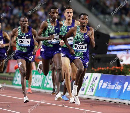 Ethiopia's Getnet Wale (R) is on his way to win the men's 3,000m Steeplechase race at the Memorial Van Damme IAAF Diamond League international athletics meeting in Brussels, Belgium, 06 September 2019.