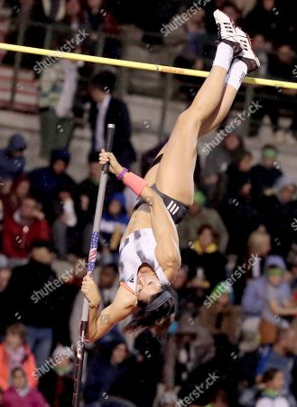 United States Jennifer Suhr competes in the women's pole vault during the Diamond League Memorial Van Damme athletics event at the King Baudouin stadium in Brussels on