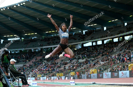 Colombia's Caterine Ibarguen competes in the women's long jump during the Diamond League Memorial Van Damme athletics event at the King Baudouin stadium in Brussels on