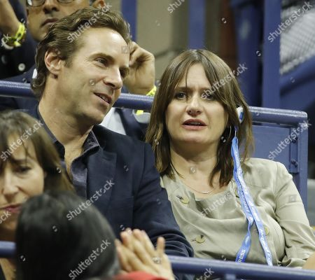 British actress Emily Mortimer (R) and husband and US actor Alessandro Nivola (L) watch as Rafael Nadal of Spain plays Matteo Berrettini of Italy during their Semi-Finals round match on the twelfth day of the US Open Tennis Championships the USTA National Tennis Center in Flushing Meadows, New York, USA, 06 September 2019. The US Open runs from 26 August through 08 September.