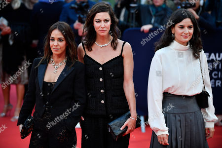Alice Belaidi, Anna Mouglalis and Marie Louise Khondji arrive on the red carpet prior to the opening ceremony during the 45th Deauville American Film Festival, in Deauville, France, 06 September 2019. The festival runs from 06 to 15 September 2019.