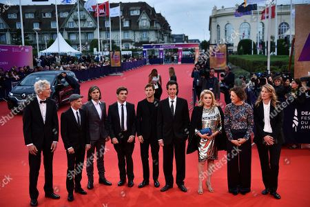 French sound engineer Jean Pierre Duret, French musician Orelsan, French director Nicolas Saada, French actor Gaspard Ulliel, French scriptwriter Antonin Baudry, French actress Catherine Deneuve, Luxembourgish actress Vicky Krieps and French director Claire Burger pose on the red carpet prior to the opening ceremony during the 45th Deauville American Film Festival, in Deauville, France, 06 September 2019. The festival runs from 06 to 15 September 2019.