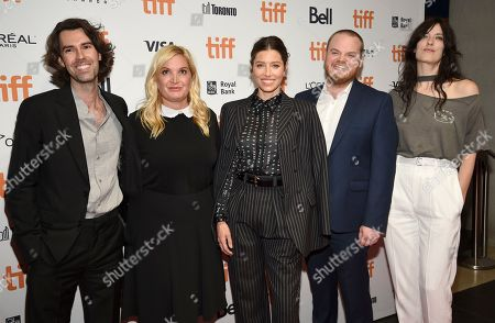 """Skip Bronkie, Michelle Purple, Jessica Biel, Zack Akers, Rebecca Thomas. Executive producers Skip Bronkie, from left, Michelle Purple, actress/executive producer Jessica Biel, executive producer Zack Akers and director Rebecca Thomas attend the premiere for """"Limetown"""" on day two of the Toronto International Film Festival at the TIFF Bell Lightbox, in Toronto"""