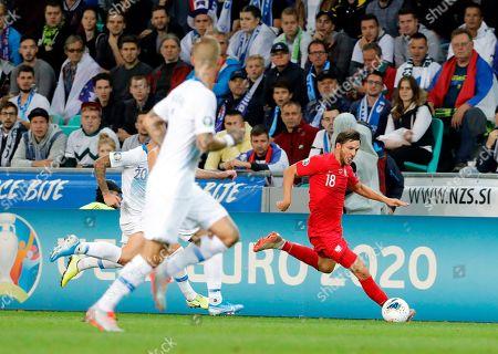 Poland's Bartosz Bereszynski (R) in action against Slovenia's Petar Stojanovic (L) during the UEFA EURO 2020 group G qualifying soccer match between Slovenia and Poland at Stozice stadium in Ljubljana, Slovenia, 06 September 2019.