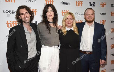 """Skip Bronkie, Rebecca Thomas, Michelle Purple, Zack Akers. Executive producer Skip Bronkie, from left, director Rebecca Thomas, and executive producers Michelle Purple and Zack Akers attend the premiere for """"Limetown"""" on day two of the Toronto International Film Festival at the TIFF Bell Lightbox, in Toronto"""