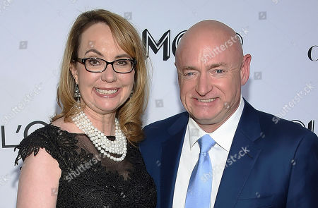 """Gabrielle Giffords, Mark Kelly. Politician and gun control advocate Gabrielle Giffords and husband, retired astronaut Mark Kelly, attend the Glamour Women of the Year Awards at Spring Studios in New York. Kelli Ward, the head of the head of the Arizona Republican Party, said in a fundraising email that Democratic Senate candidate Mark Kelly will be stopped """"dead in his tracks."""" The comment by Ward sparked an outcry from Democrats . Kelly became a prominent gun-control advocate after his wife, Gabrielle Giffords, was critically injured in a mass shooting while she was a member of Congress"""