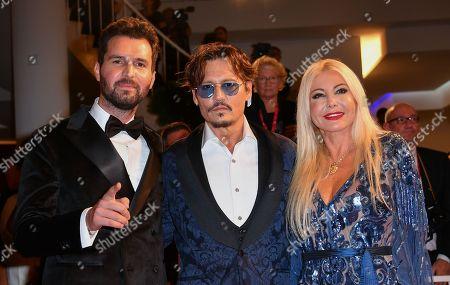 Monika Bacardi with Andrea Iervolino and Johnny Depp