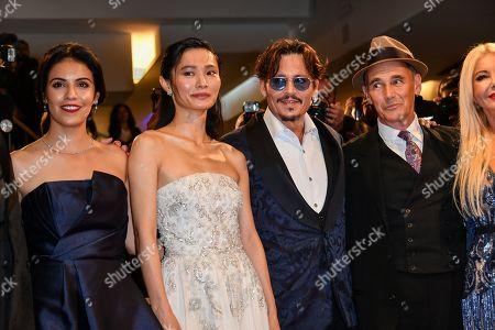 Olga Segura with Gana Bayarsaikhan, Johnny Depp and Mark Rylance